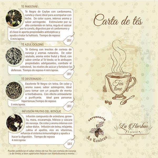 Carta de Tés Cervecería As Landras